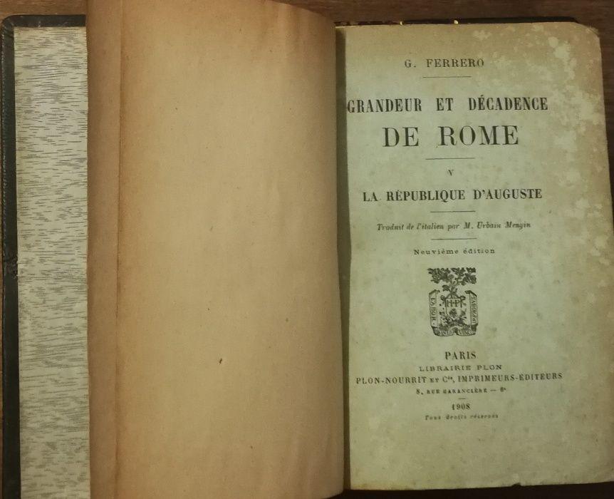 grandeur et décadence de rome , g. ferrero, 1908, 3 volumes Estrela - imagem 1