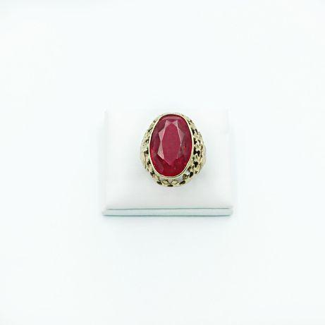 Złoty ponadczasowy pierścionek złoto 585 z dużym czerwonym kamieniem