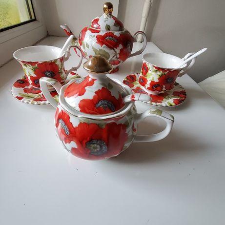 Набор чашек 2шт+сахарница + заварочный чайник