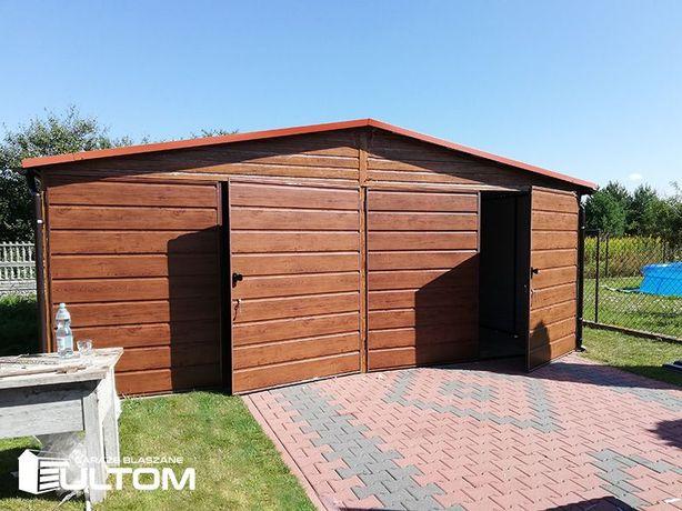 Garaż blaszany 6x6 PROFIL zamknięty złoty dąb