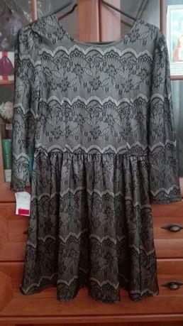 Sukienka przepiekna koronkowa kokardku odryte plecy