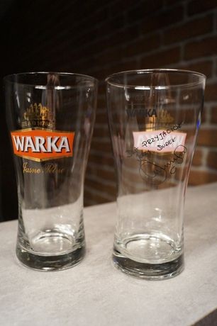 Szklanka - Kufel Warka z podpisem Dudka - 2 szt.