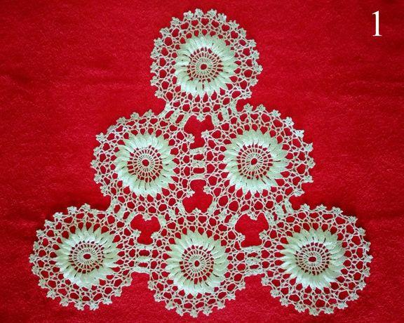 Serwetki szydełkowe świąteczne ręcznie robione bawełna