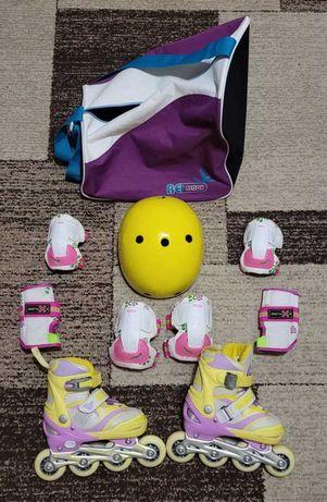 Роликовые коньки, сумка, комплект защиты (колени, локти, ладош, шлем).
