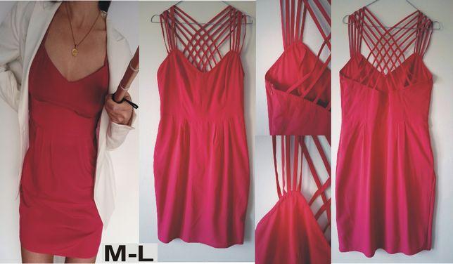 różowa sukienka na ramiączkach letnia weselna ASOS rozmiar M-L