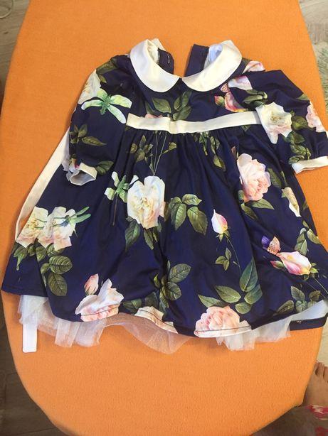 Универсальное нарядное стрейчевре платье с фатином, на 1-2г, на76-86