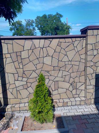 Укладка природного камня. Плитняк, песчаник, брусчатка, нарезка/солом