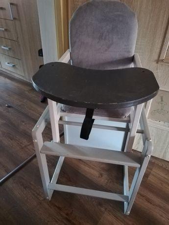 Sprzedam krzesełko fotelik do karmienia drewniany tapicerowany śliczny