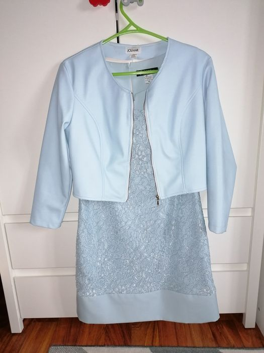 Niebieska sukienka bolerko skórzane na wesele Zabrzeg - image 1