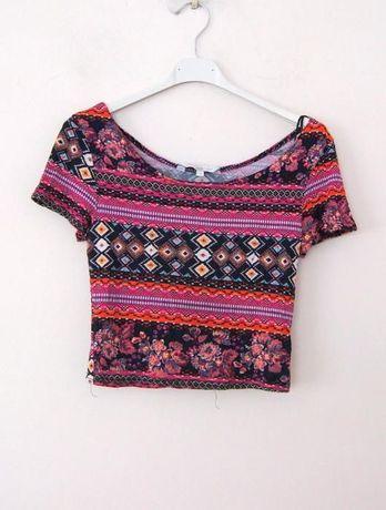 New Look aztecki rozowy crop top aztecka bluzka w azteckie wzory 38 M