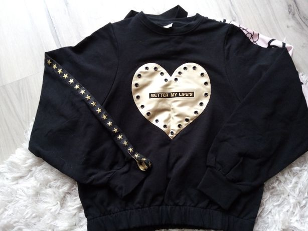 nowa czarna bluza ze złotym sercem na przodzie roz.152
