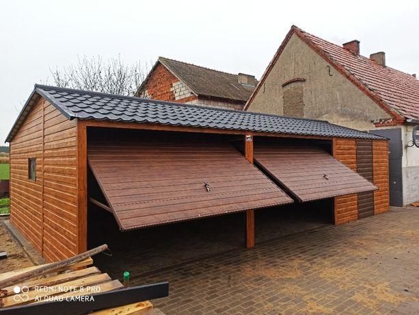 Garaż blaszany 9x6 drewnopodobny