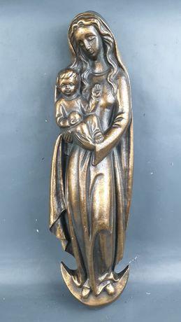 Figura z brązu Matka Boska z dzieciątkiem