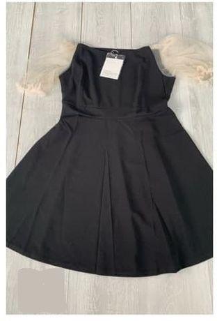 Черное платье сарафан с прозрачными рукавами