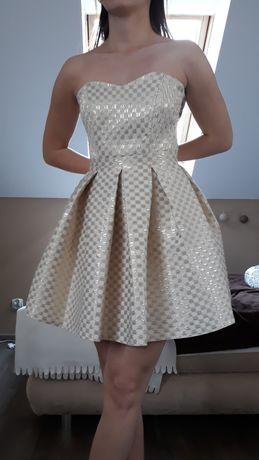 Sukienka złota wesele, studniówka, xs s krótka rozkloszowana