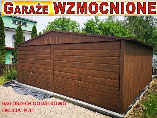 Garaże,garaż blaszany 6x6,6x5 dwuspadowe struktura drewna PRODUCENT