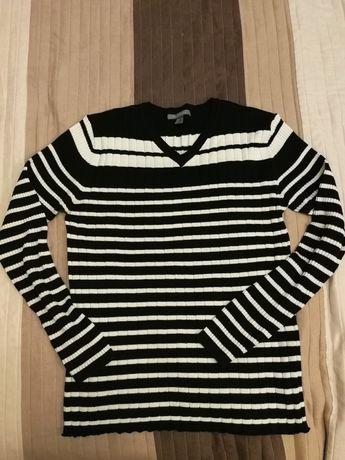 Sweter czarny w białe paski w serek XL