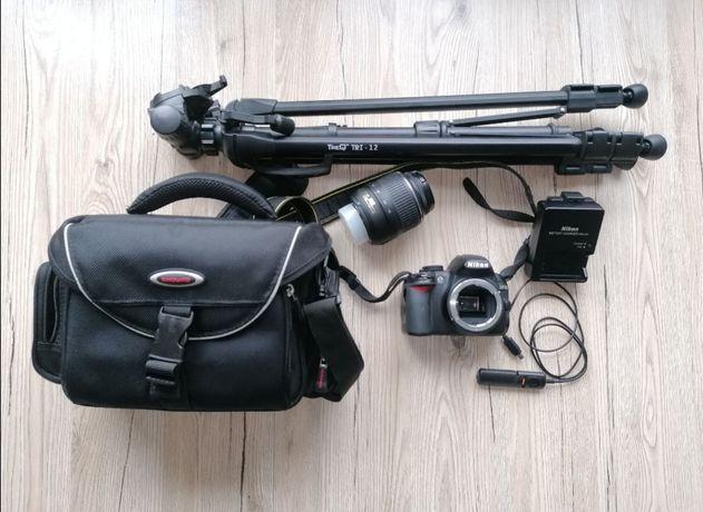 Nikon D3100 + obiektyw Nikkor 18-55 + statyw + torba + dodatki