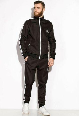 Чоловічий стильний  чорний спортивний костюм з лампасами на флісі