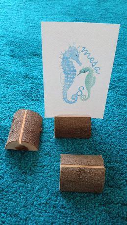 Porta papéis de madeira - decoração mesas casamento