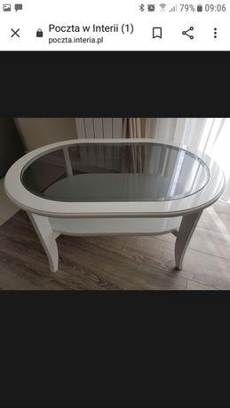 Stolik kawowy lakierowany owalny ze szkłem