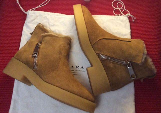 Зимние кожаные ботинки ZARA на супер замках и стильной подошве