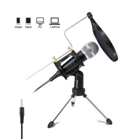 Microfone com Condensador, Tripé e Esponja - Goeik
