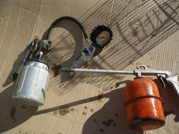 Pistolas e manometro compressor
