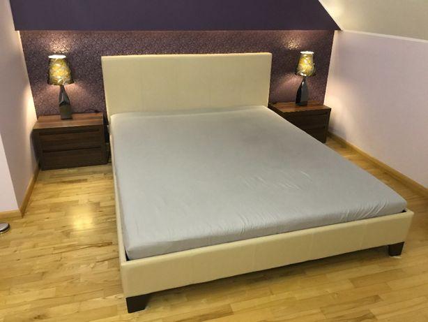 Łóżko tapicerowane 160x200 z materacem lateksowym i ochraniaczem