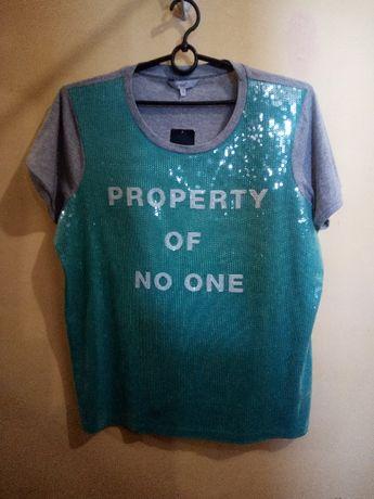 Красивая эффектная футболка с пайетками Next р. 18(52-54)