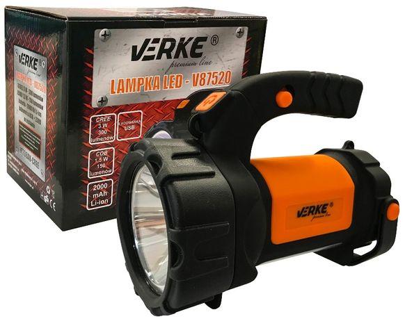 LATARKA SZPERACZ lampka LED CREE COB zasięg 500 M ładowarka