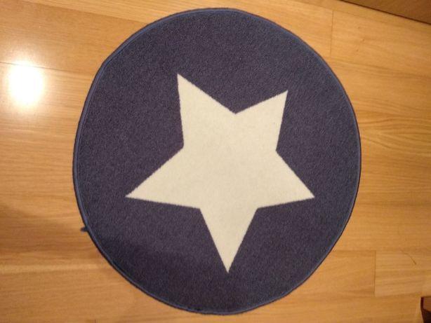 Tapete redondo azul estrela