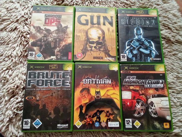 6 gier na XBOX CLASSIC wersje ang Batman , Gun , Ridick , Brutte Force