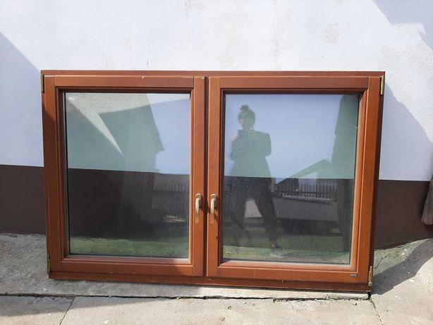Okno drewniane kolor orzech