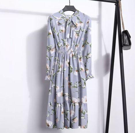 Шифоновое платье голубое цвет baby blue голубе платья міді квіти