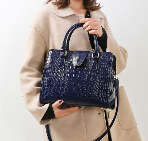 Большая женская лакированная сумка крокодил сумочка лаковая черная ХИТ