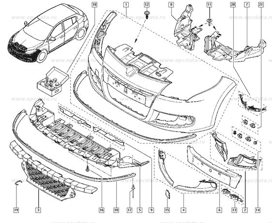 Защита/дефлектор бампера/радиатора Renault Megane3