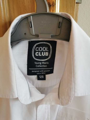 Koszula biała z krótkim rękawem Cool Club róż. 128 cm stan idealny