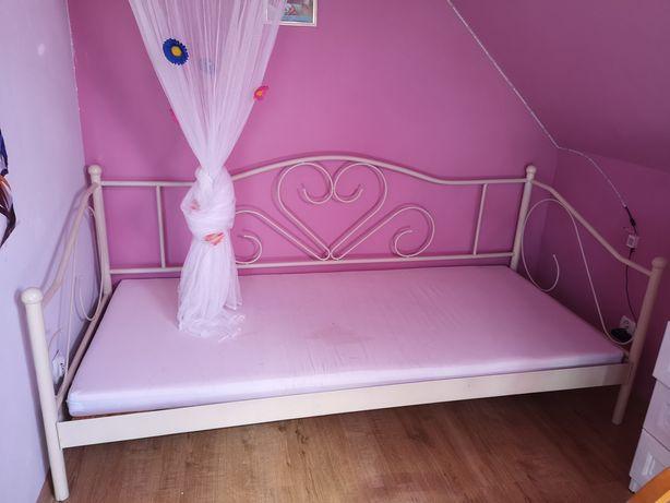 Łóżko księżniczki białe stelaż w cenie materac 90/200 gratis baldachim