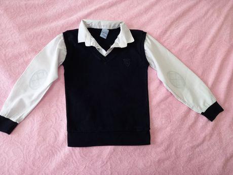 Школьная рубашка обманка для мальчика  6-7лет