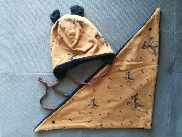 NOWY KOMPLET czapka chusta brąz liski brązowy 44 misiu uszka z uszkami