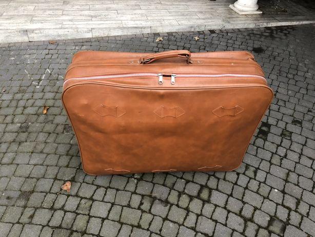 Skórzana duża waliza vintage PRL możliwa wysyłka