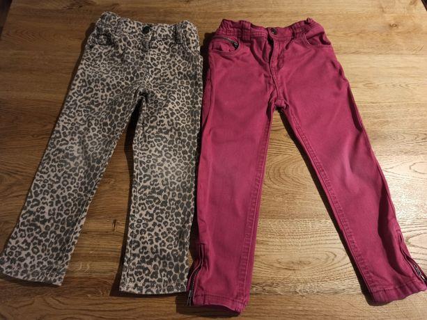 Spodnie dziewczęce jeansowe róż & panterka rozm. 98-104