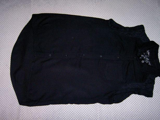 Czarna, damska bluzka z krótkim rękawem rozmiar xs