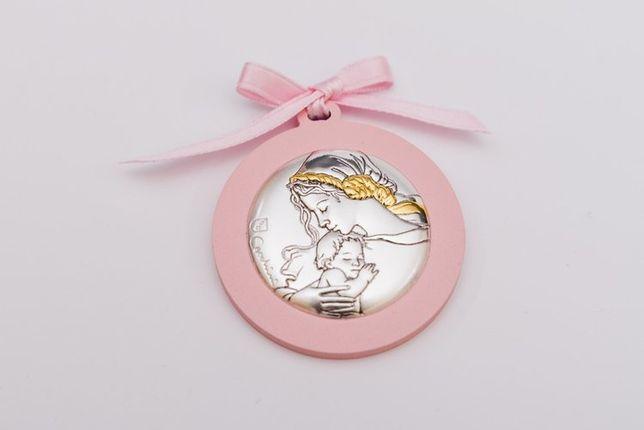 Medalik okrągły nad łóżeczko dziecięce - różowy