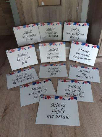 Tablice hymnu o miłości 12szt + stojaki