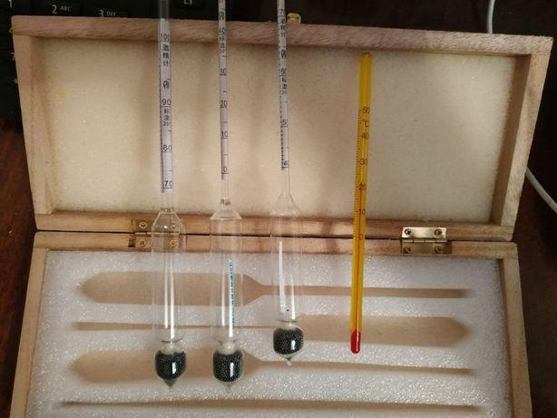 Спиртометр аерометр (3 штуки) від 0-100%, з вимірювальною колбою.