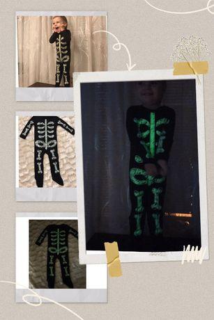 Светящийся в темноте бодик на мальчика. Скелет. 1-2 года