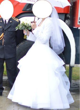 """PIĘKNA suknia ślubna """" LESIA """" z falbaną o kolorze białym model z 2019"""