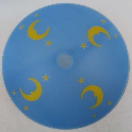 Szklany niebieski Klosz pokój dziecięcy 50 cm księżyc gwiazdki cały